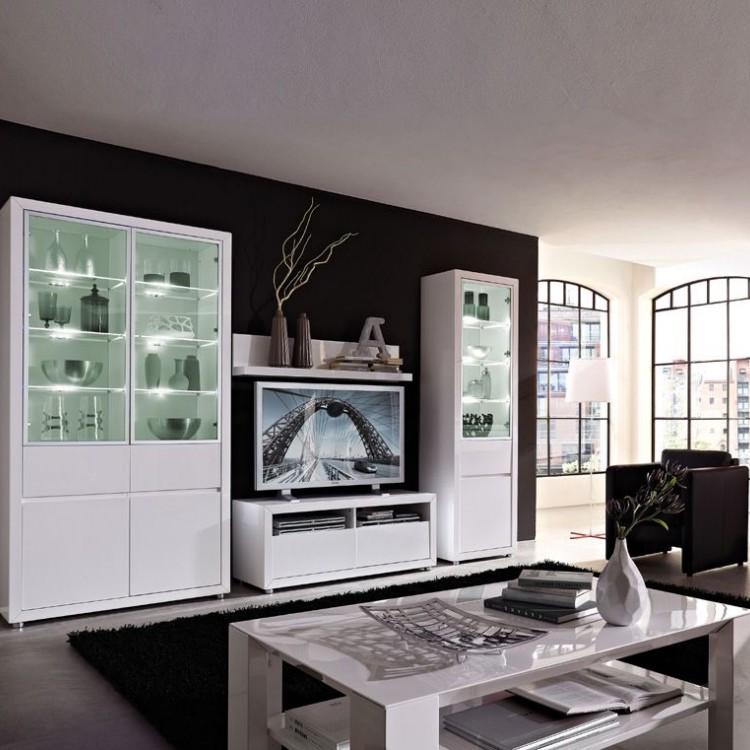 Wohnwand Lino VI (5-teilig) – Hochglanz Weiß – Ohne Beleuchtung, Top Square jetzt bestellen