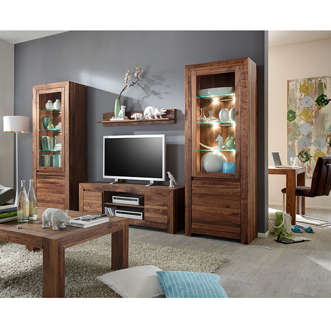 wohnwand liverpool 4 teilig nussbaum massivholz. Black Bedroom Furniture Sets. Home Design Ideas