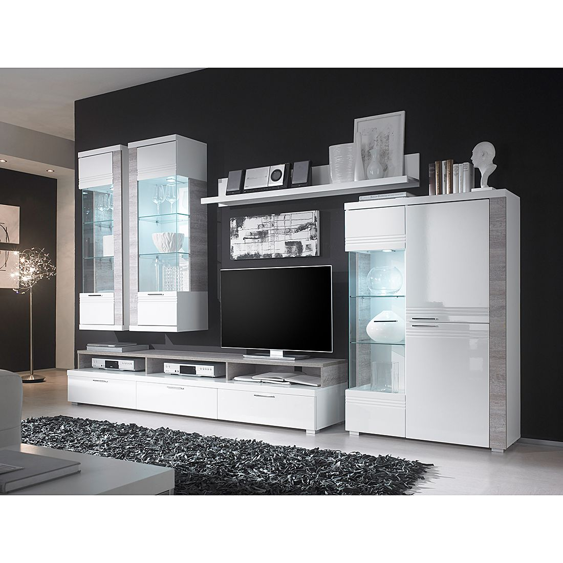 wohnwand liverpool 5 teilig wei hochglanz schrank. Black Bedroom Furniture Sets. Home Design Ideas