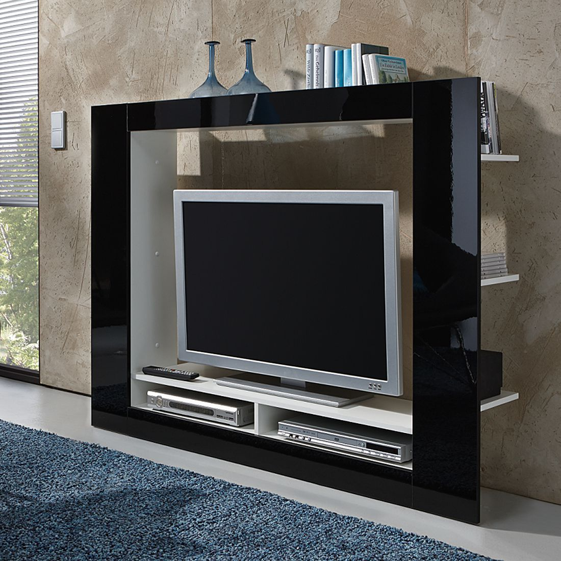 tv medienwand cinema hochglanz schwarz wei roomscape bestellen. Black Bedroom Furniture Sets. Home Design Ideas