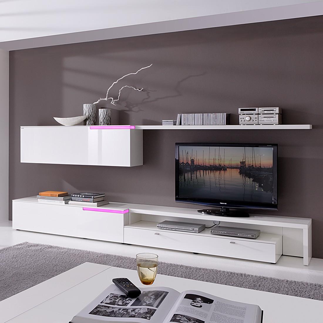 wohnwand lumino ii 4 teilig wei wei hochglanz bhd. Black Bedroom Furniture Sets. Home Design Ideas