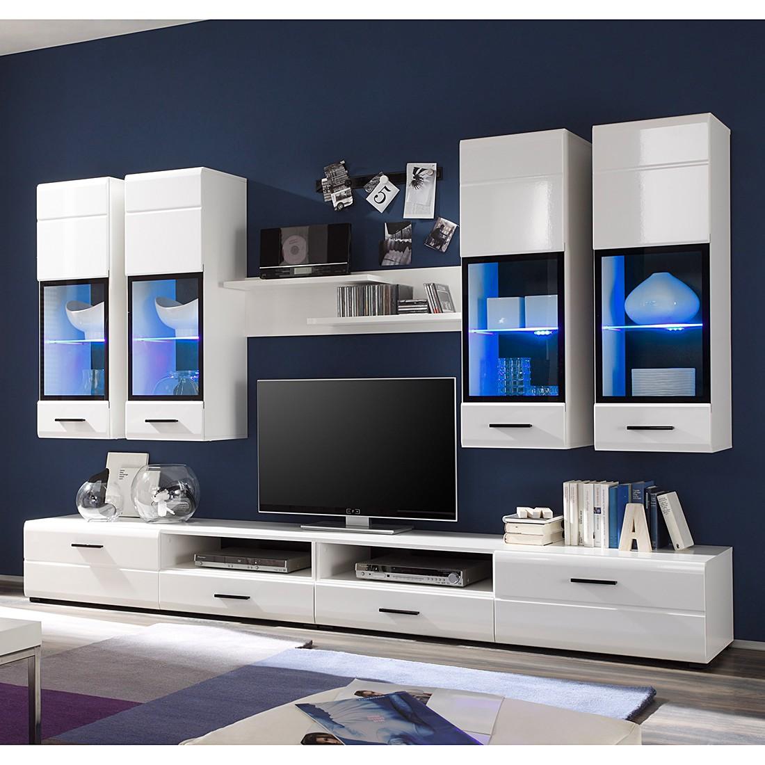 EEK A+, Wohnwand Marcello (7-teilig) – inkl. Beleuchtung – Hochglanz Weiß/Weiß, roomscape online kaufen