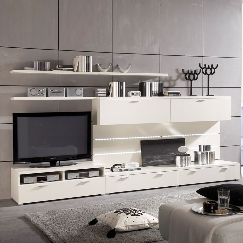 wohnwand medium 8 teilig wei lack. Black Bedroom Furniture Sets. Home Design Ideas