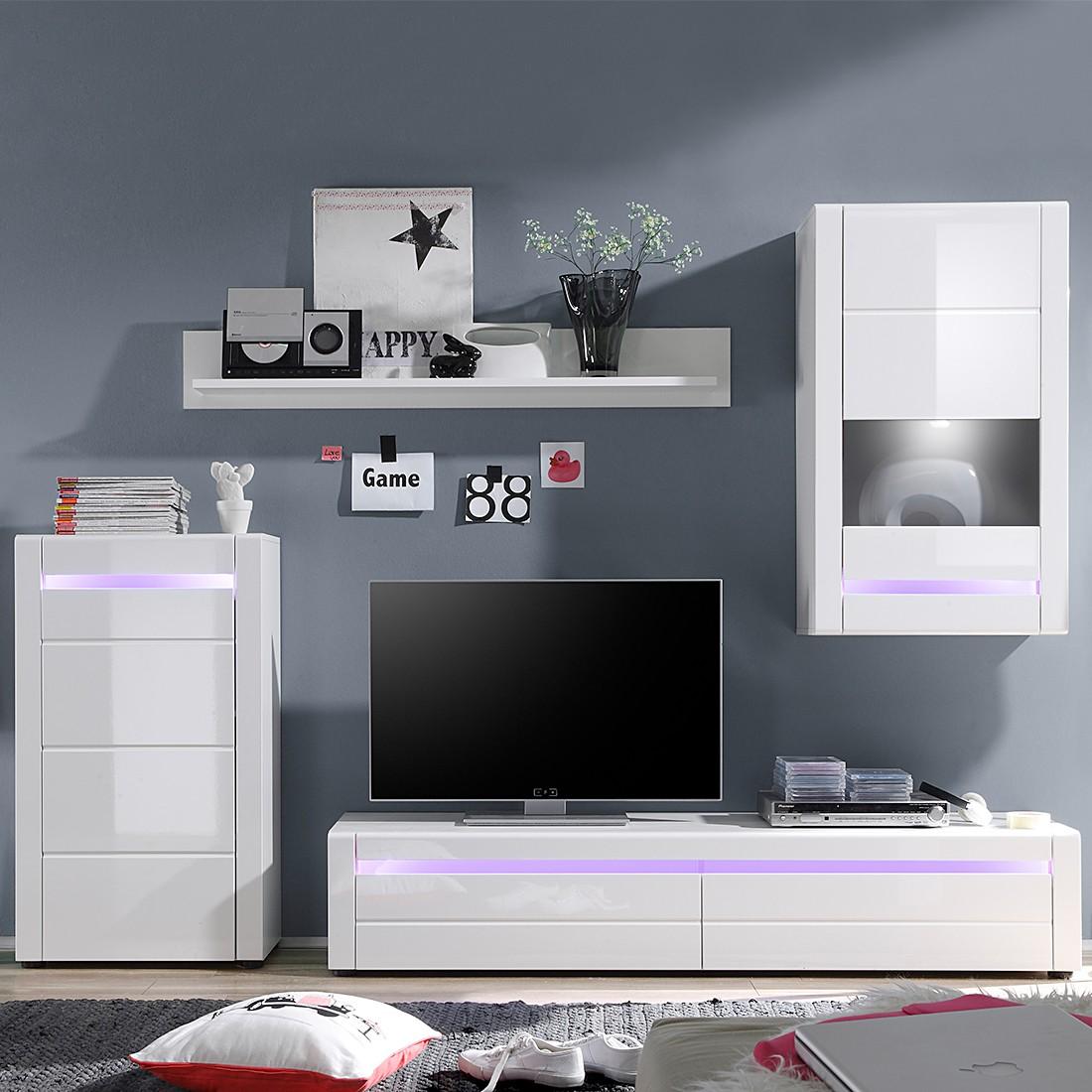 Wohnwand Meduris I (4-teilig) – inkl. Beleuchtung- Hochglanz Weiß/Weiß – Spot LED & RGB Beleuchtung, roomscape online kaufen