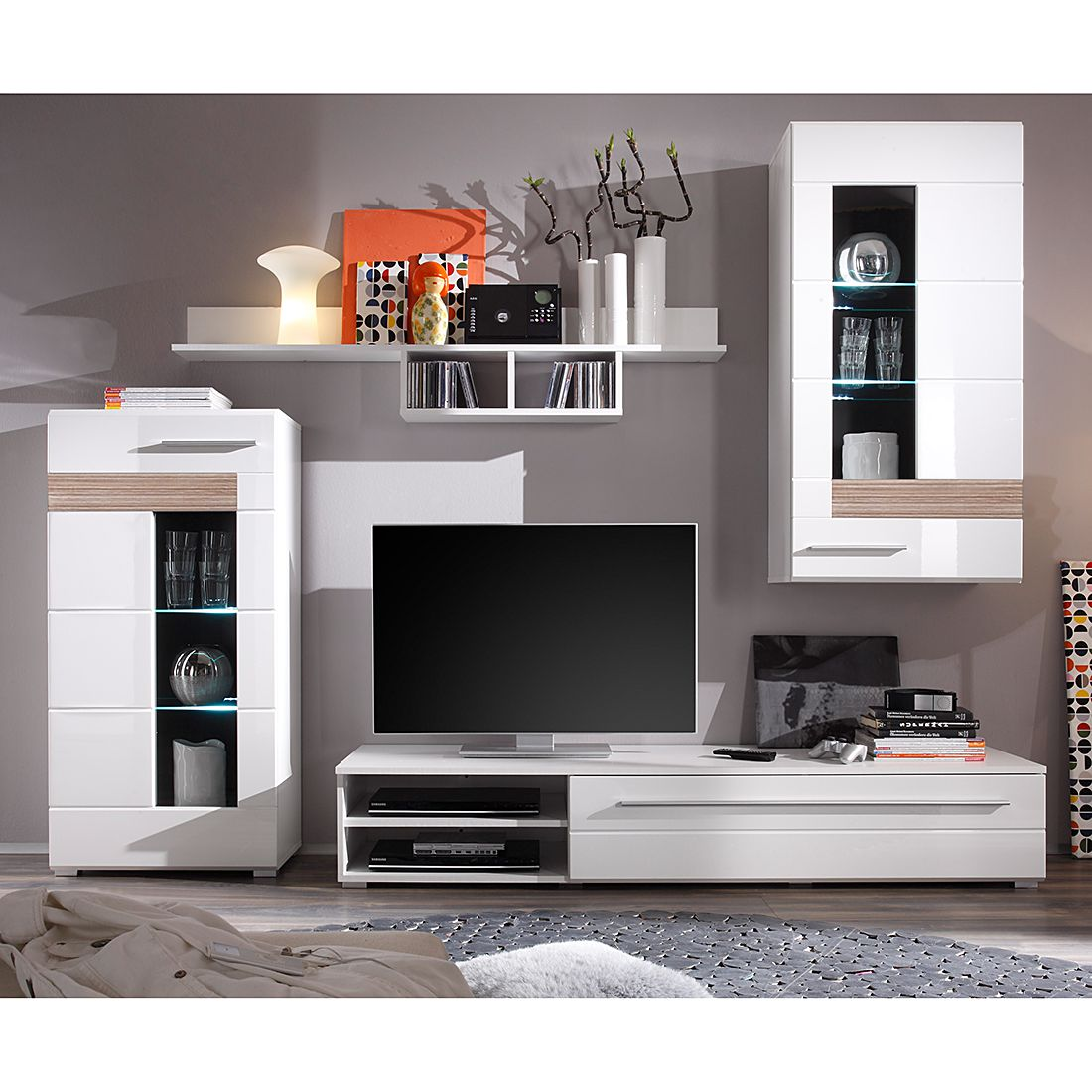 wohnwand meeno i 4 teilig inkl beleuchtung wei hochglanz eiche s gerau dekor schrank. Black Bedroom Furniture Sets. Home Design Ideas
