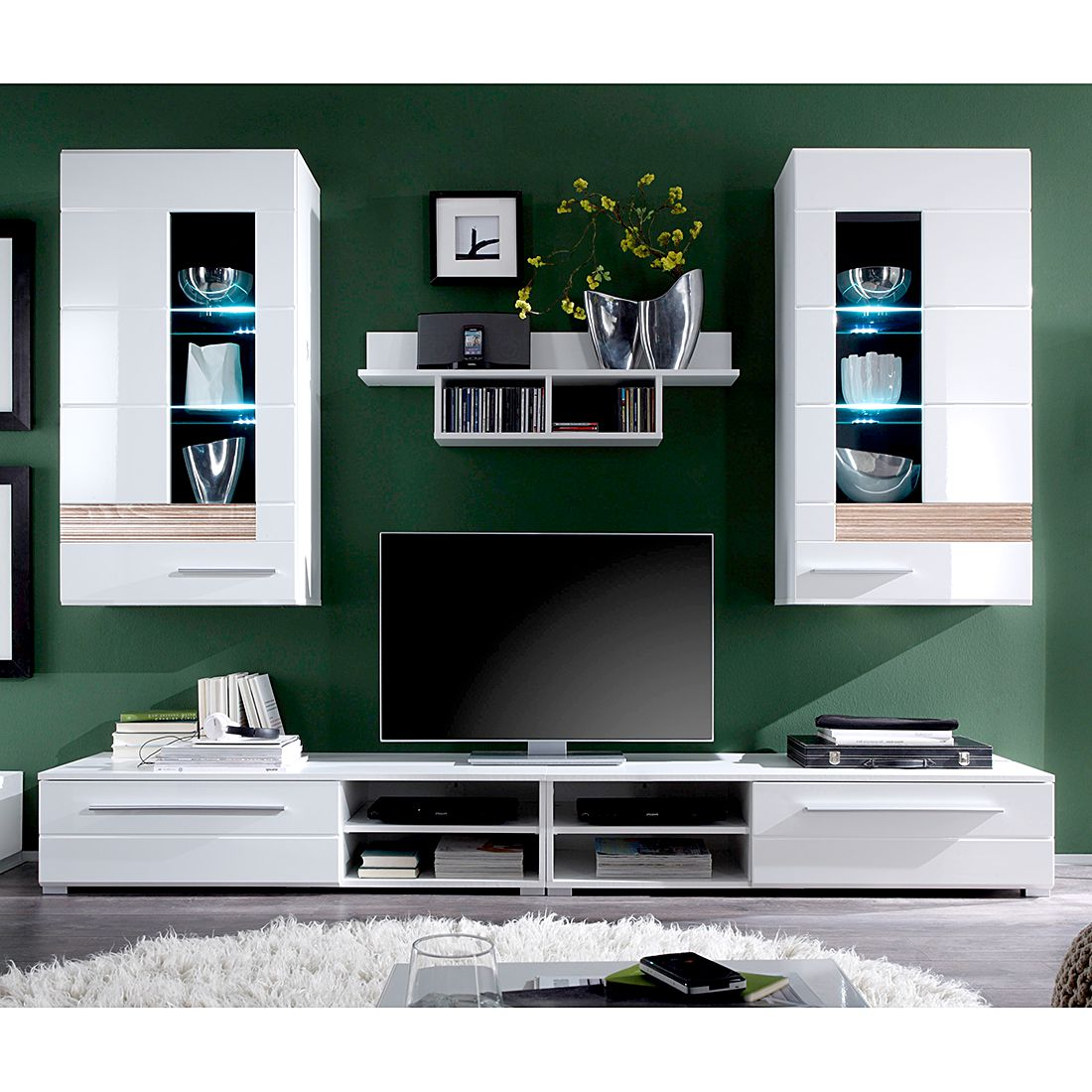 wohnwand meeno ii 4 teilig inkl beleuchtung wei hochglanz eiche s gerau dekor schrank. Black Bedroom Furniture Sets. Home Design Ideas