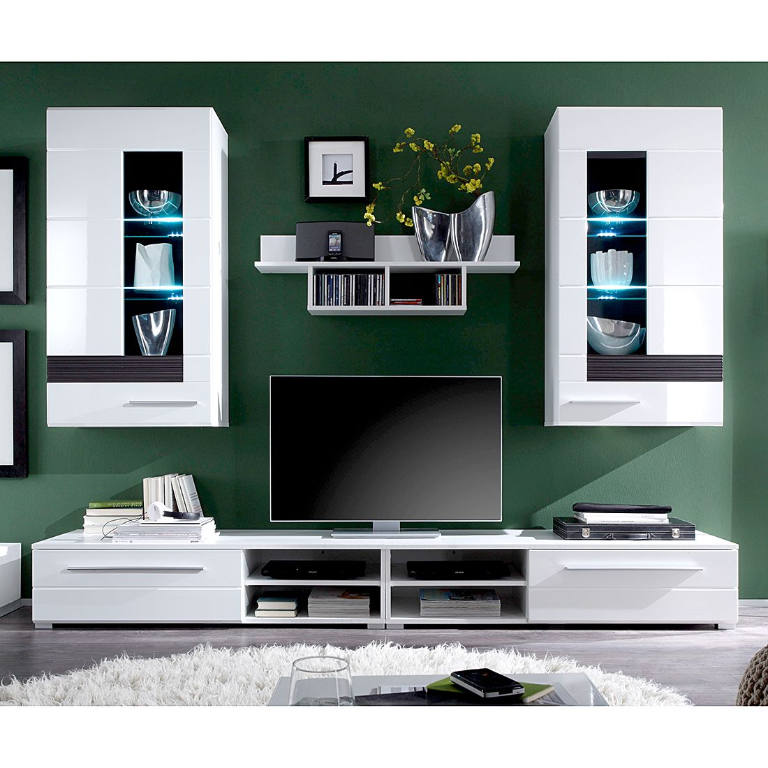 wohnwand meeno ii 4 teilig inkl beleuchtung wei hochglanz melinga eiche dekor. Black Bedroom Furniture Sets. Home Design Ideas