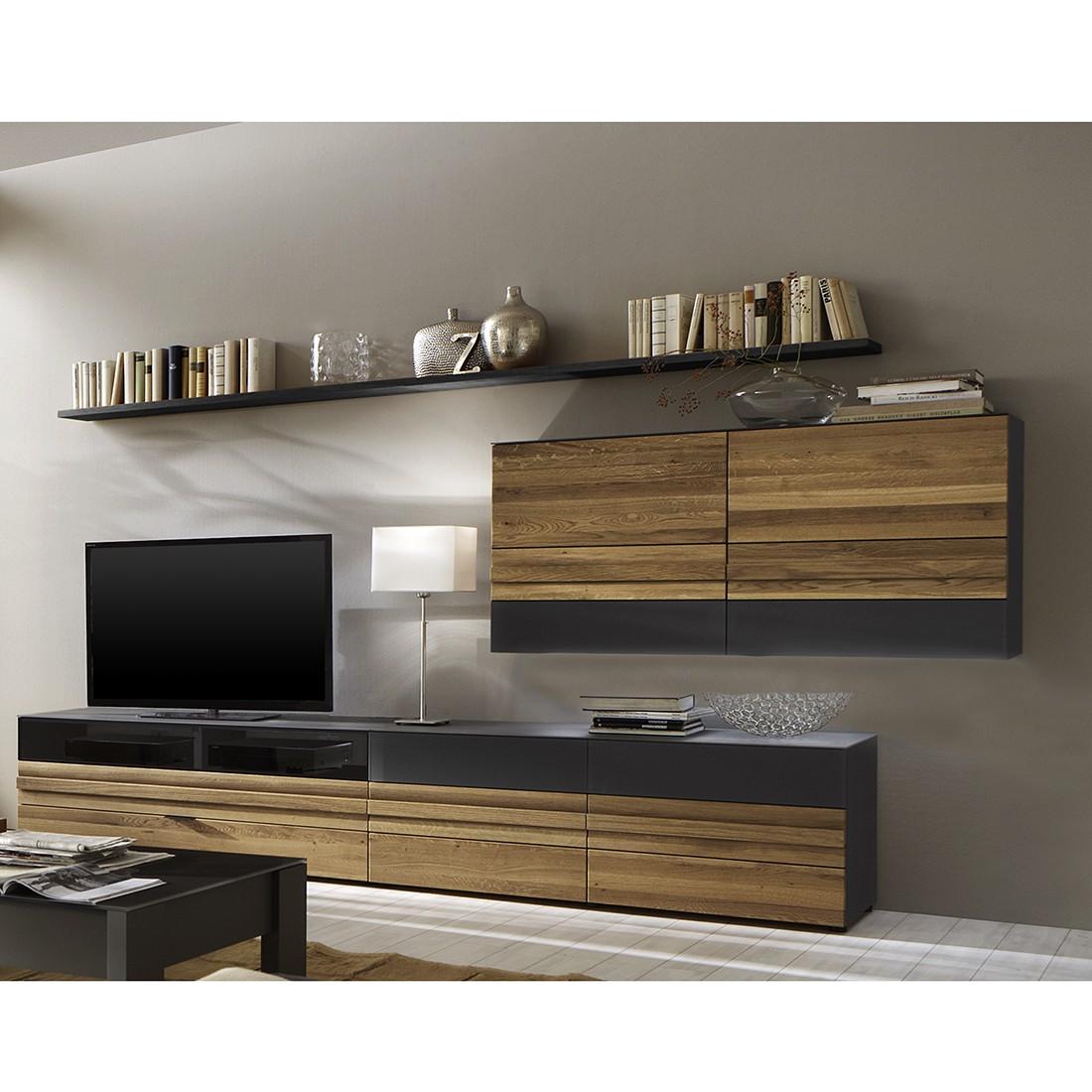 wohnwand mentano i 4 teilig wildeiche teilmassiv stone wildeiche ohne beleuchtung. Black Bedroom Furniture Sets. Home Design Ideas