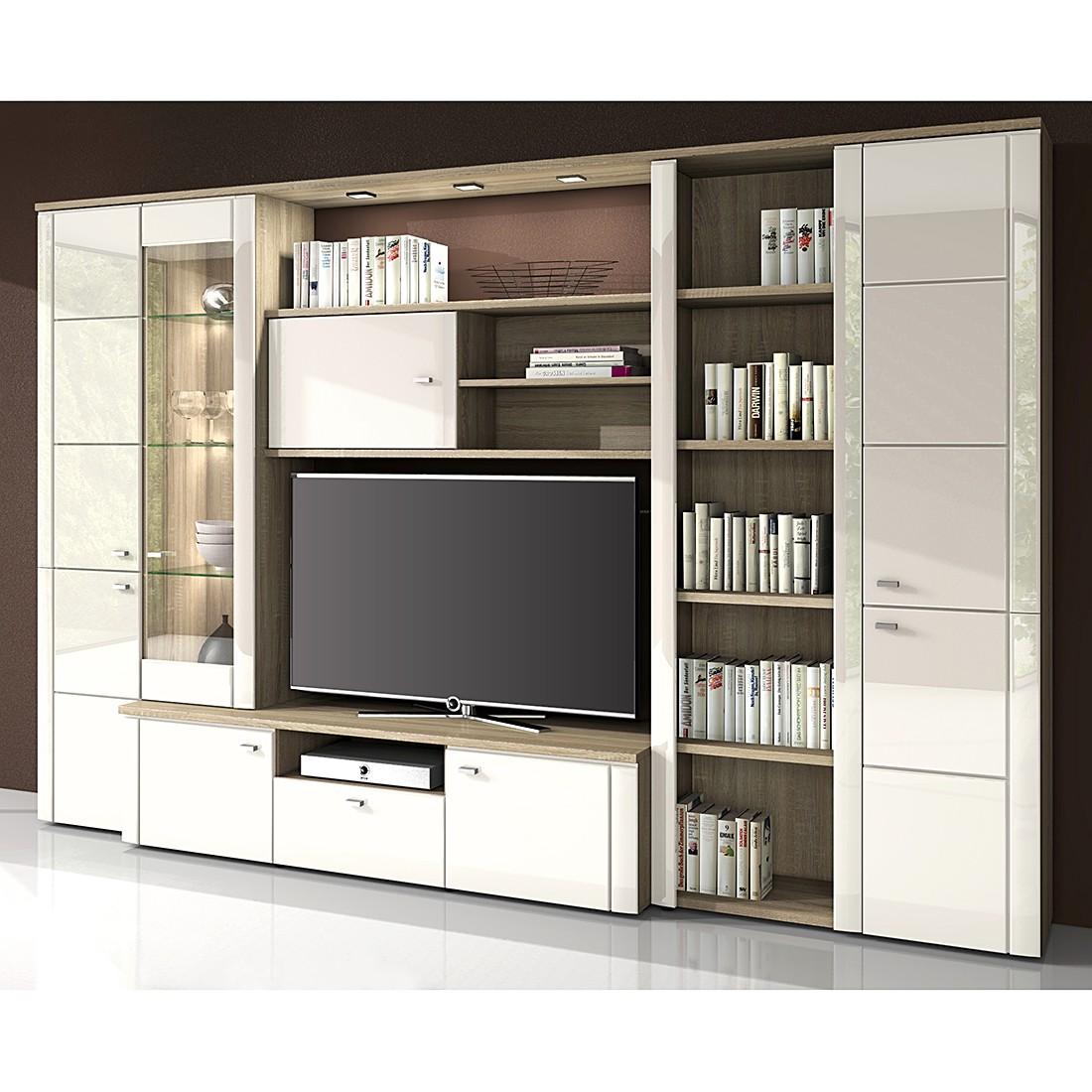 wohnwand merida i hochglanz wei ohne beleuchtung modoform g nstig. Black Bedroom Furniture Sets. Home Design Ideas