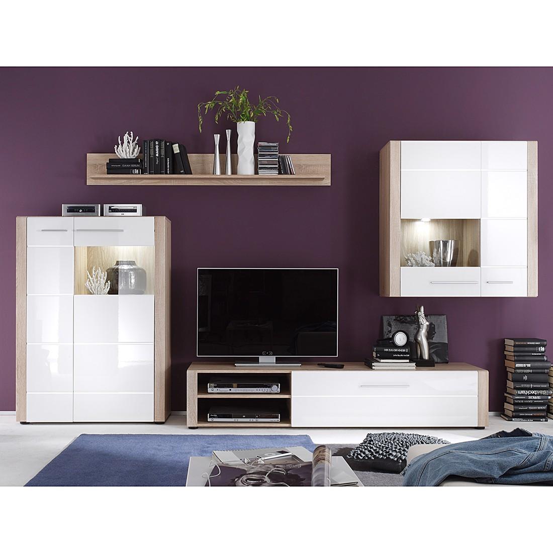 wohnwand minel i 4 teilig inkl beleuchtung eiche s gerau dekor wei hochglanz schrank. Black Bedroom Furniture Sets. Home Design Ideas