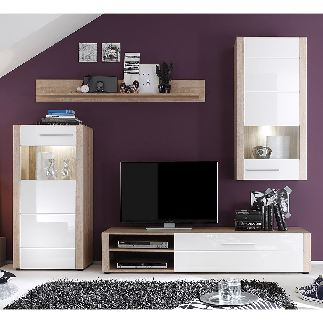 wohnwand minel ii 4 teilig inkl beleuchtung eiche s gerau dekor wei hochglanz. Black Bedroom Furniture Sets. Home Design Ideas
