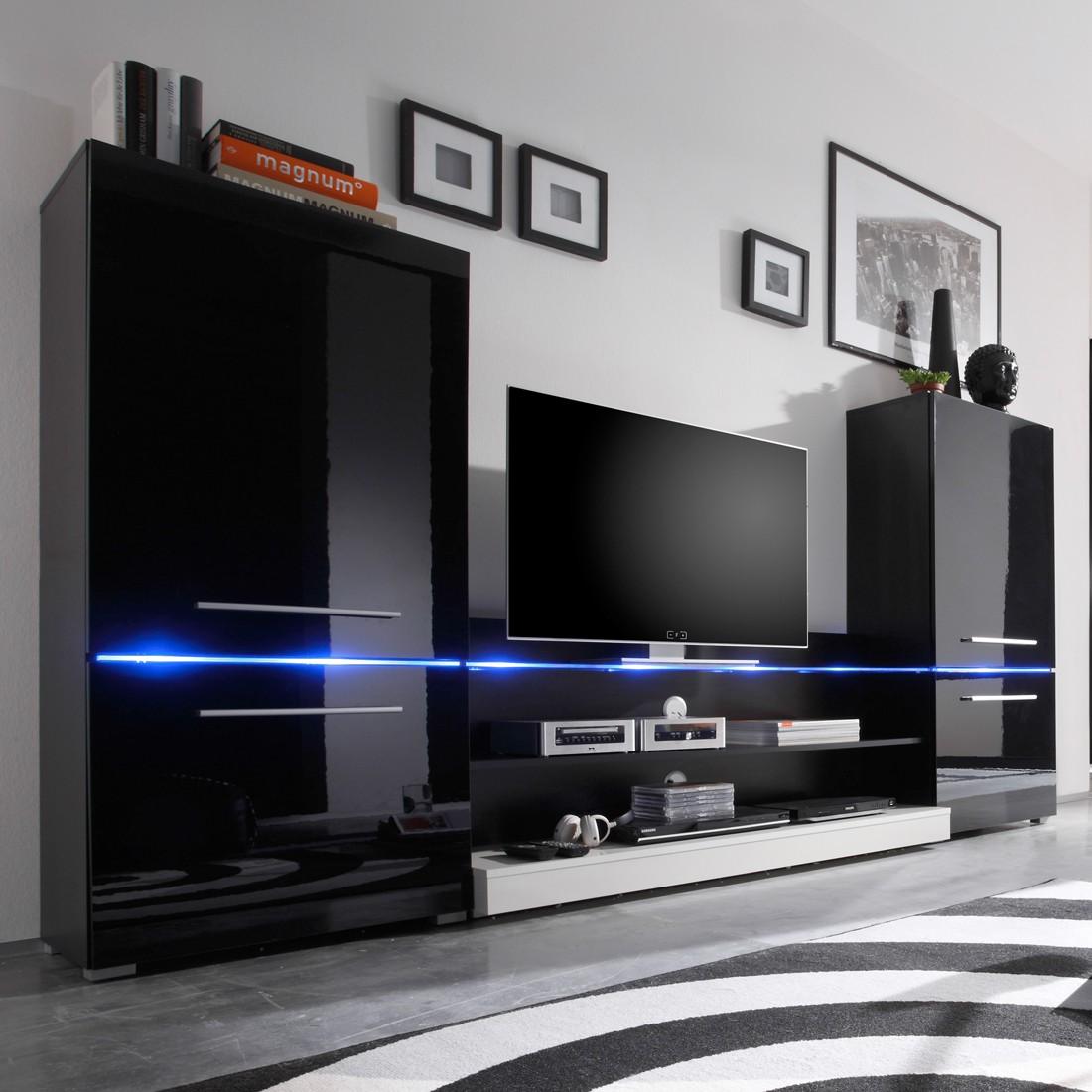 eek a wohnwand modern art 3 teilig inklusive beleuchtung hochglanz schwarz wei. Black Bedroom Furniture Sets. Home Design Ideas