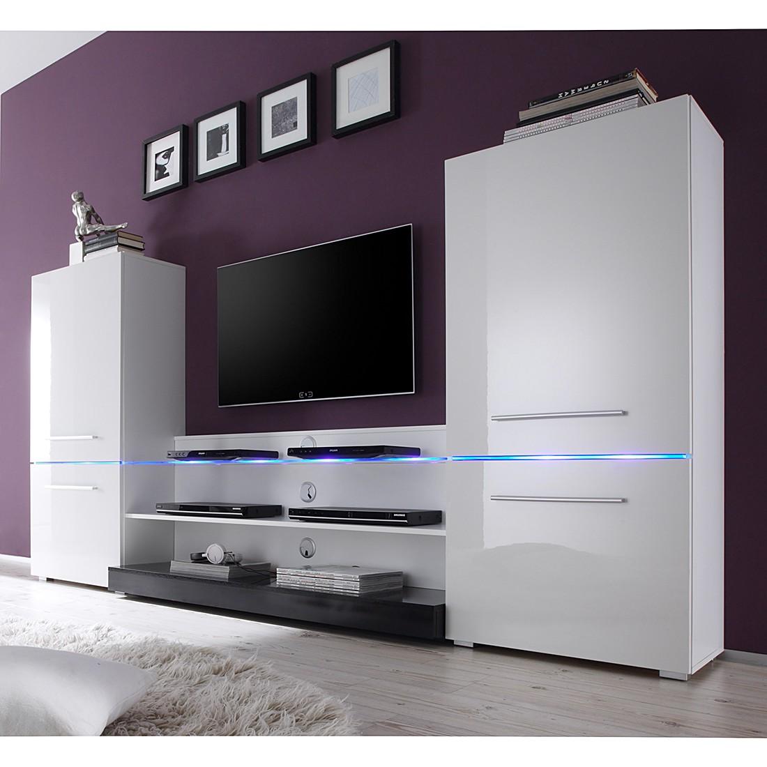 EEK A+, Wohnwand Modern Art (3-teilig) – inkl. Beleuchtung – Hochglanz Weiß, roomscape online kaufen