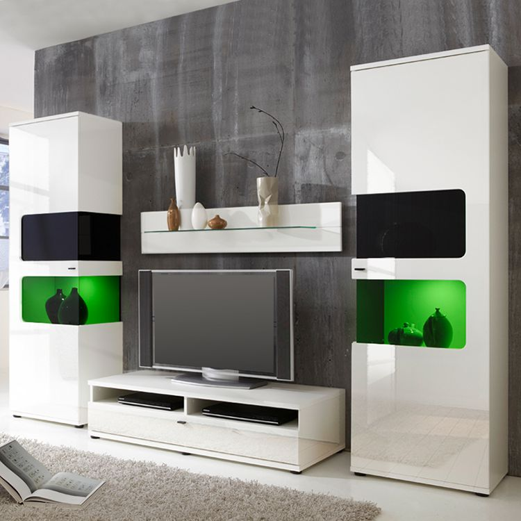 wohnwand monk ii 4 teilig wei roomscape online bestellen. Black Bedroom Furniture Sets. Home Design Ideas