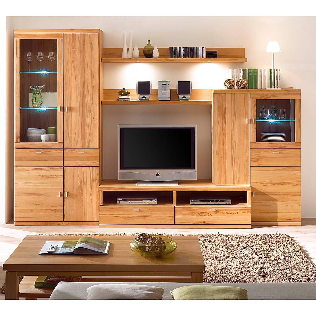 wohnwand monterey 5 teilig kernbuche teilmassiv ge lt gewachst wohnwand 5 teilig. Black Bedroom Furniture Sets. Home Design Ideas