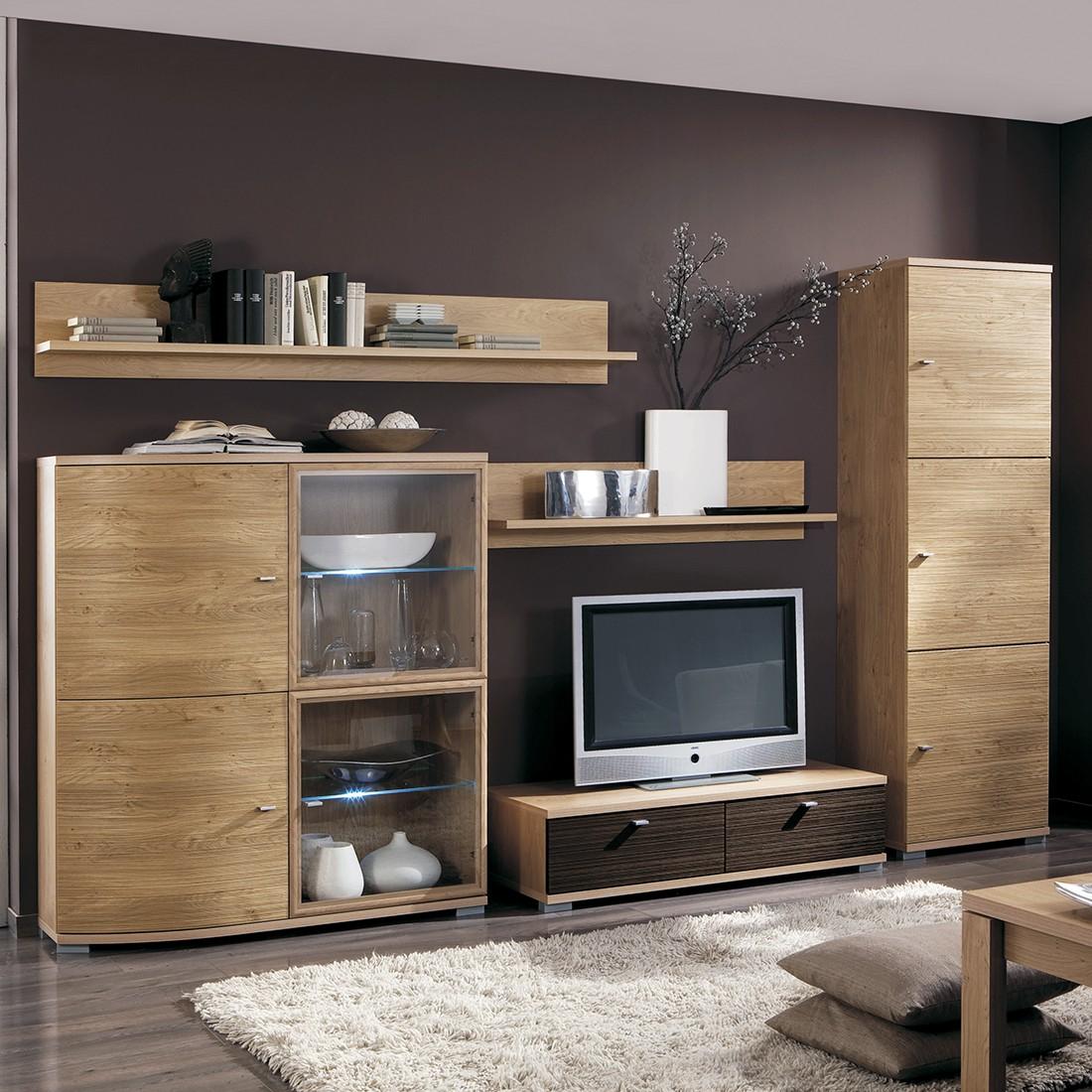 wohnwand morena 5 teilig wildeiche dekor ohne beleuchtung. Black Bedroom Furniture Sets. Home Design Ideas
