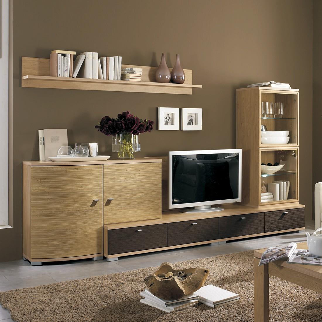 wohnwand morena 6 teilig wildeiche dekor mit. Black Bedroom Furniture Sets. Home Design Ideas