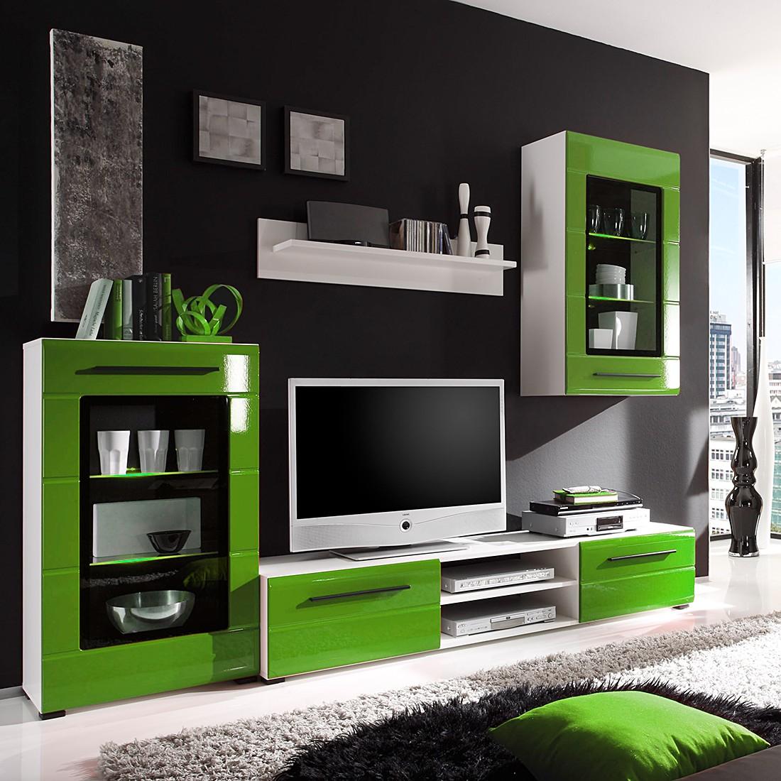 eek a wohnwand motley 4 teilig inklusive beleuchtung hochglanz gr n roomscape g nstig. Black Bedroom Furniture Sets. Home Design Ideas