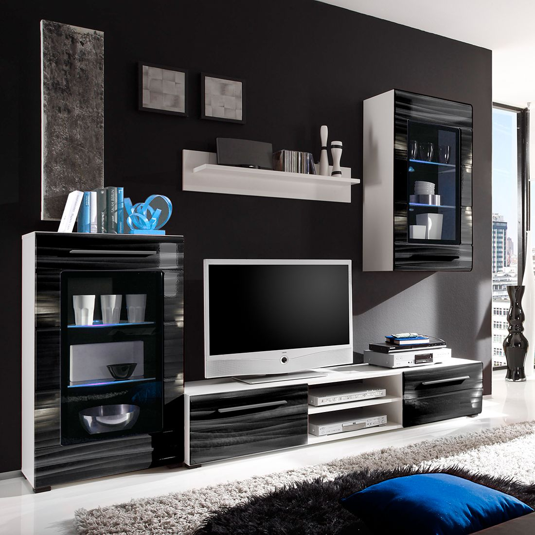 wohnwand motley i 4 teilig inklusive beleuchtung. Black Bedroom Furniture Sets. Home Design Ideas