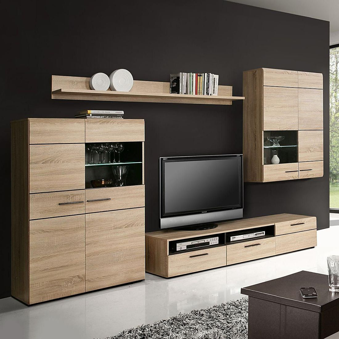 wohnwand nashville 4 teilig sonoma eiche dekor wenge. Black Bedroom Furniture Sets. Home Design Ideas