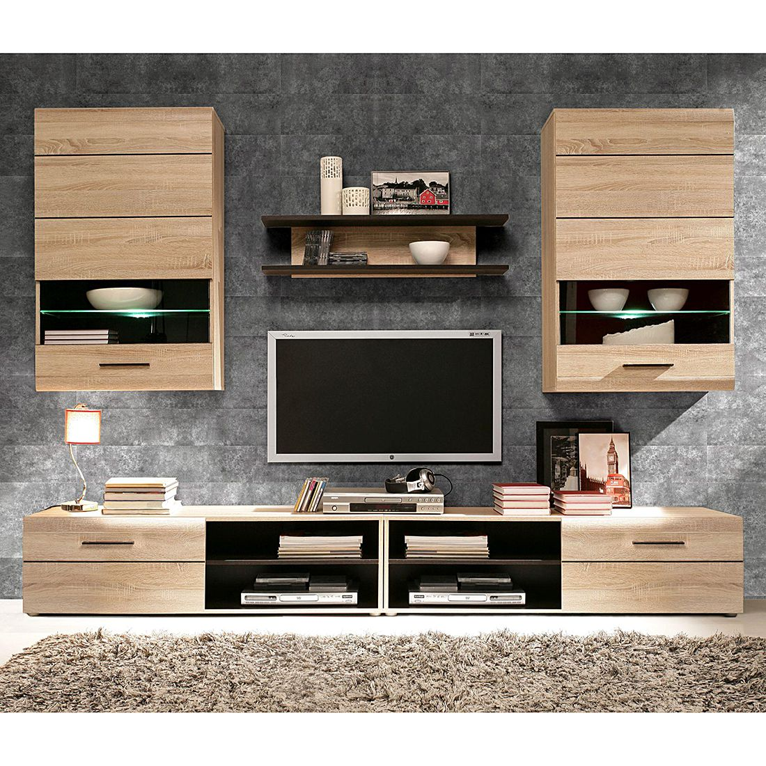 wohnwand nashville 5 teilig sonoma eiche dekor wenge. Black Bedroom Furniture Sets. Home Design Ideas