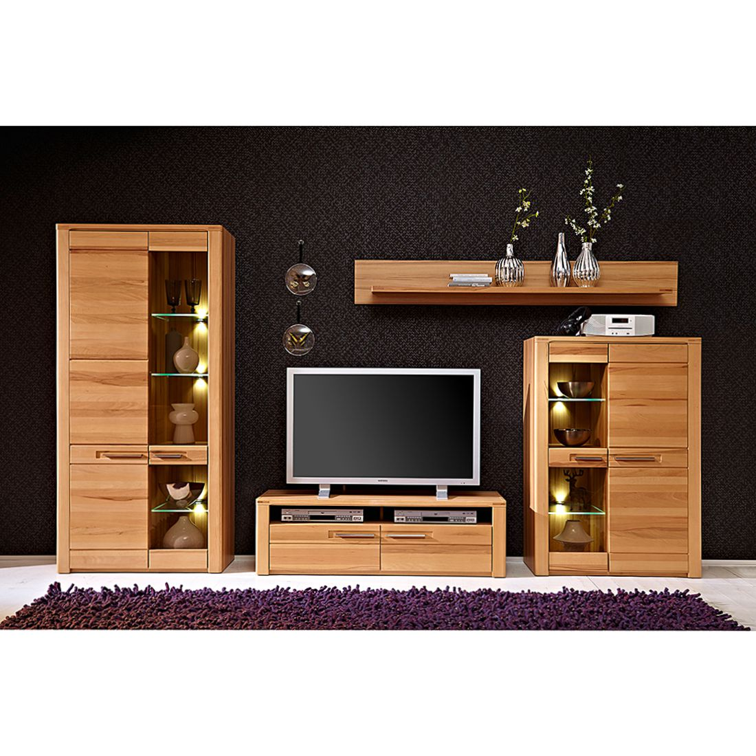 wohnwand naturestar i 4 teilig kernbuche teilmassiv. Black Bedroom Furniture Sets. Home Design Ideas