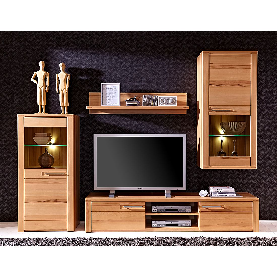wohnwand naturestar ii 4 teilig kernbuche teilmassiv. Black Bedroom Furniture Sets. Home Design Ideas