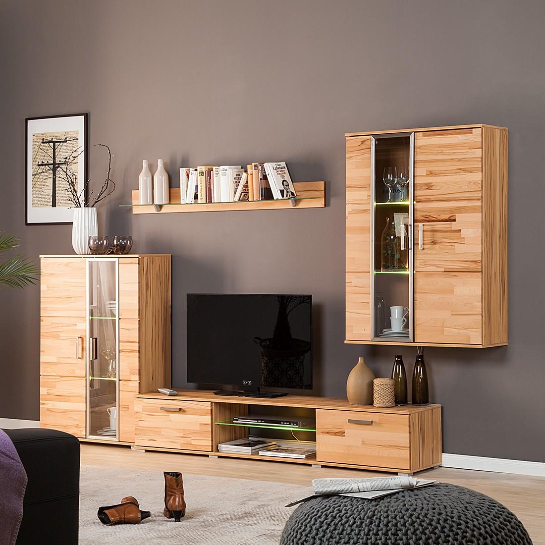 wohnwand newcastle 4 teilig kernbuche teilmassiv. Black Bedroom Furniture Sets. Home Design Ideas