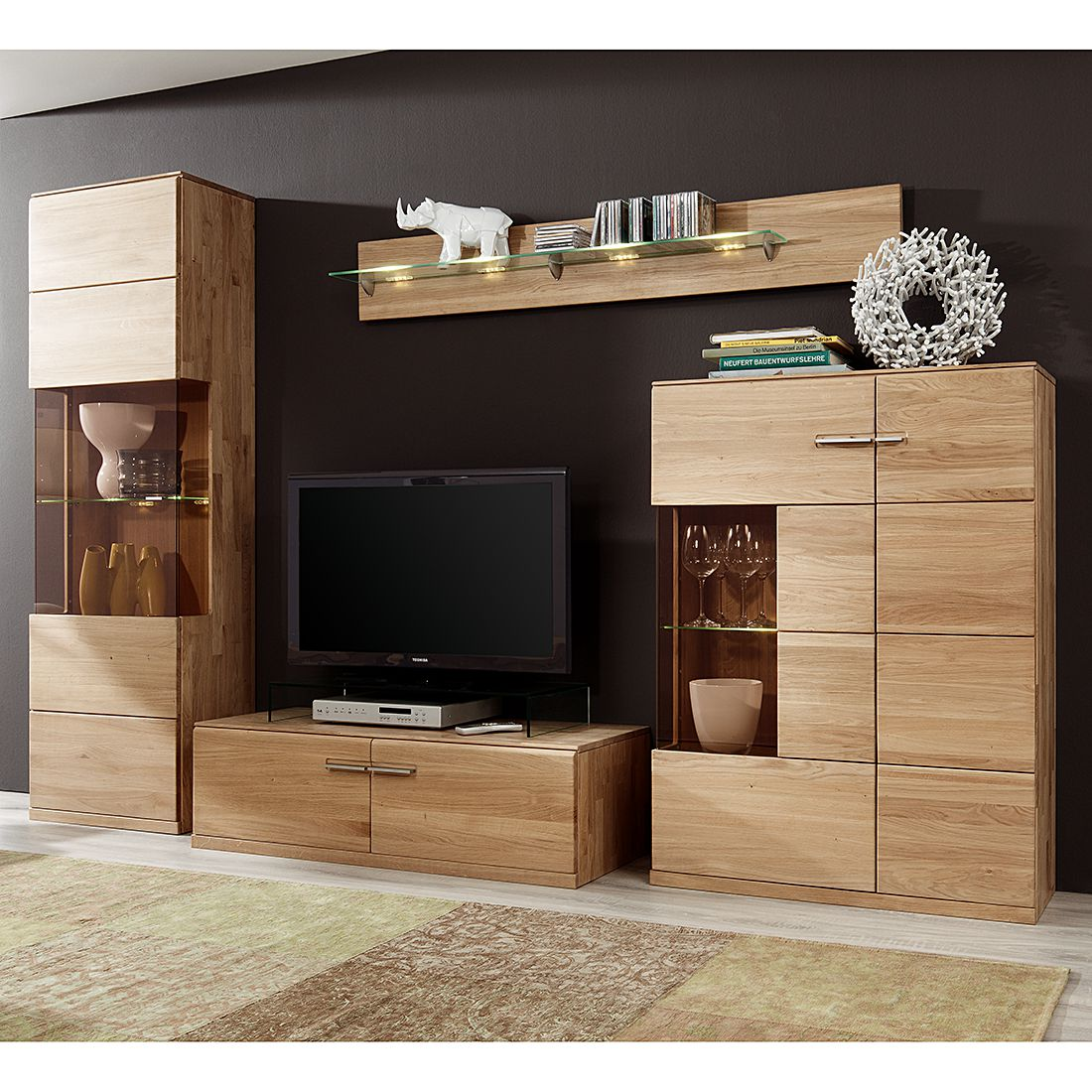 wohnwand oregon 4 teilig eiche massiv ge lt gewachst wohnwand 4 teilig inklusive. Black Bedroom Furniture Sets. Home Design Ideas