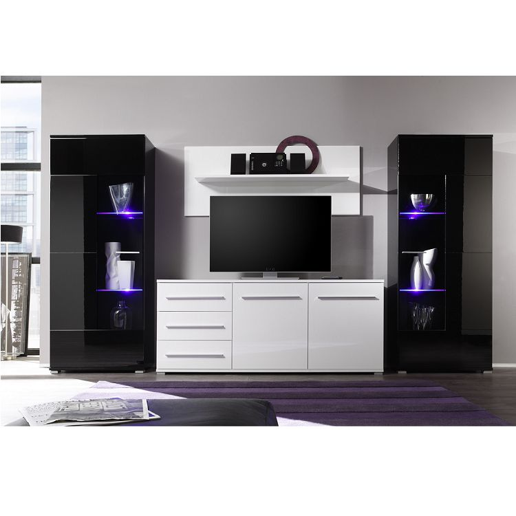 wohnwand mert 4 tlg schwarz wei hochglanz schrank. Black Bedroom Furniture Sets. Home Design Ideas