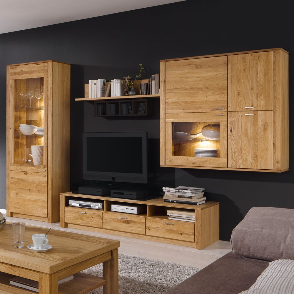 wohnwand paradise 4 teilig eiche glas teilmassiv. Black Bedroom Furniture Sets. Home Design Ideas