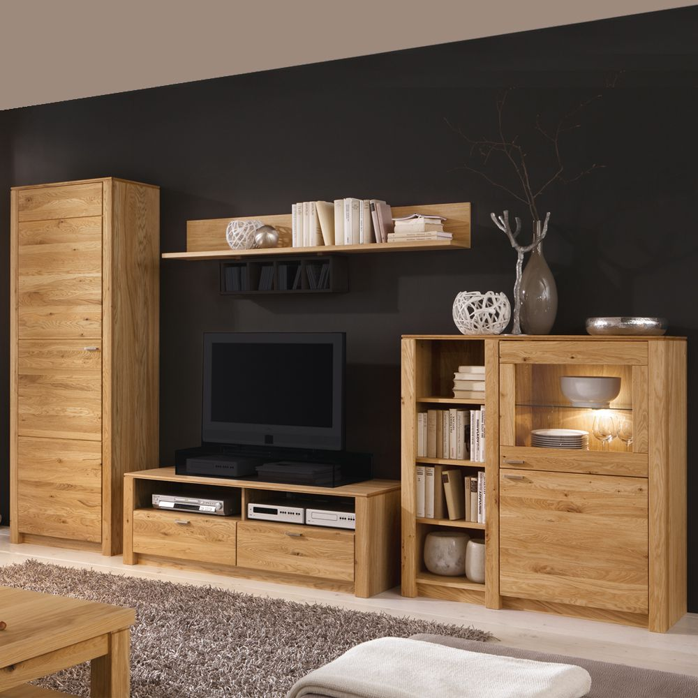 wohnwand paradise eiche teilmassiv glas ge lt. Black Bedroom Furniture Sets. Home Design Ideas