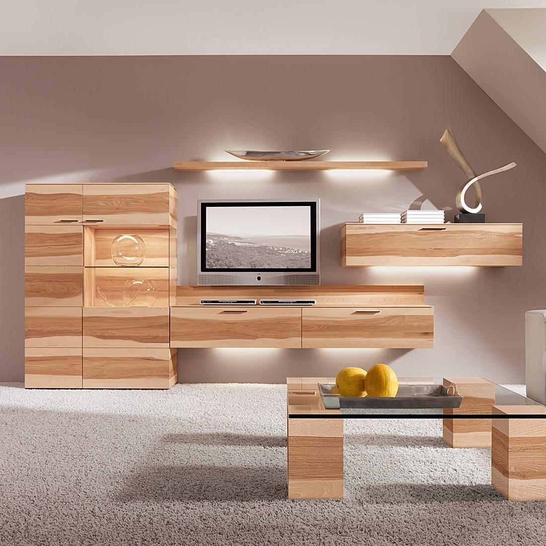 eek a wohnwand pecano ii 4 teilig pecan nuss massiv mit beleuchtung hartmann g nstig kaufen. Black Bedroom Furniture Sets. Home Design Ideas