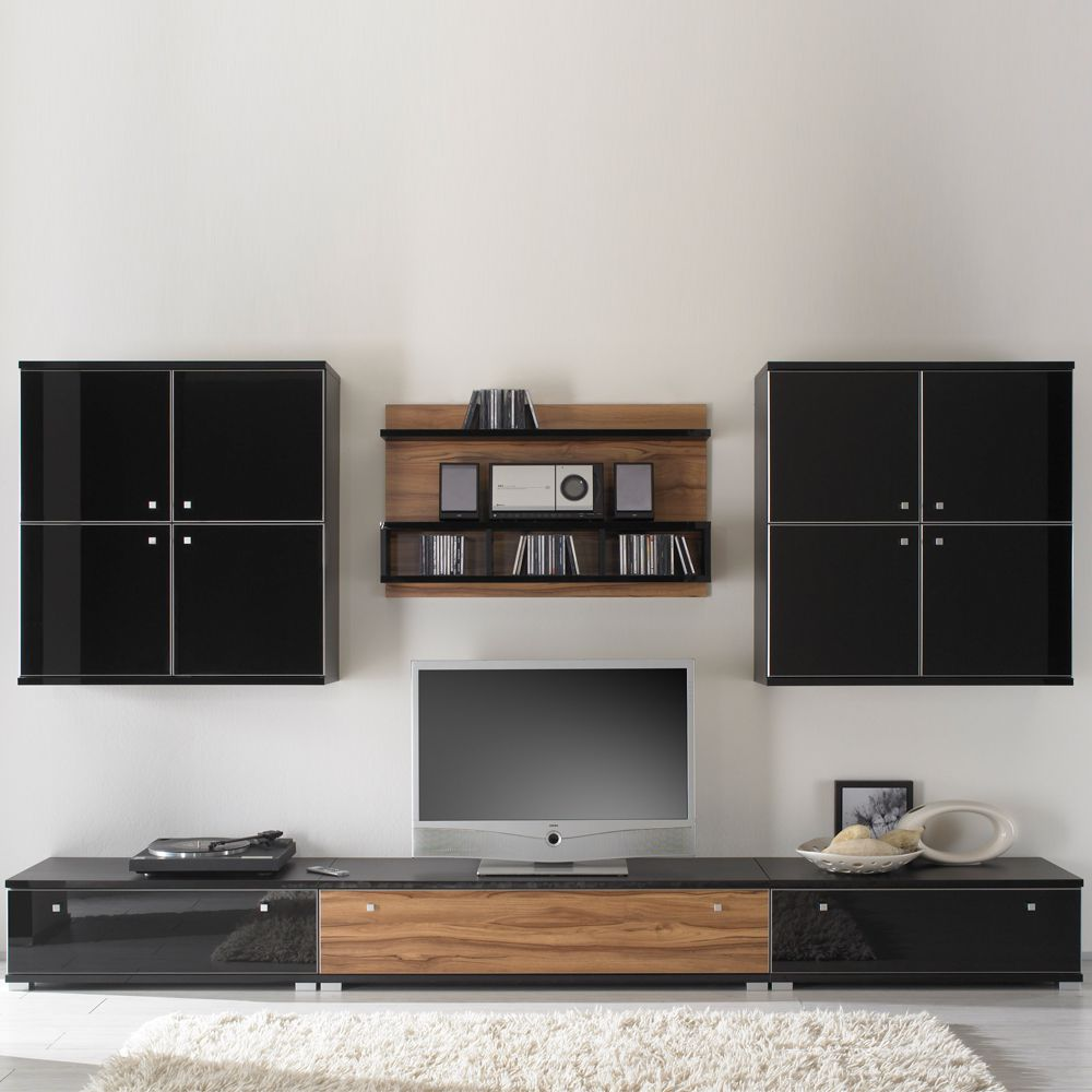 wohnwand pirlo nussbaum dekor hochglanz schwarz 310cm. Black Bedroom Furniture Sets. Home Design Ideas