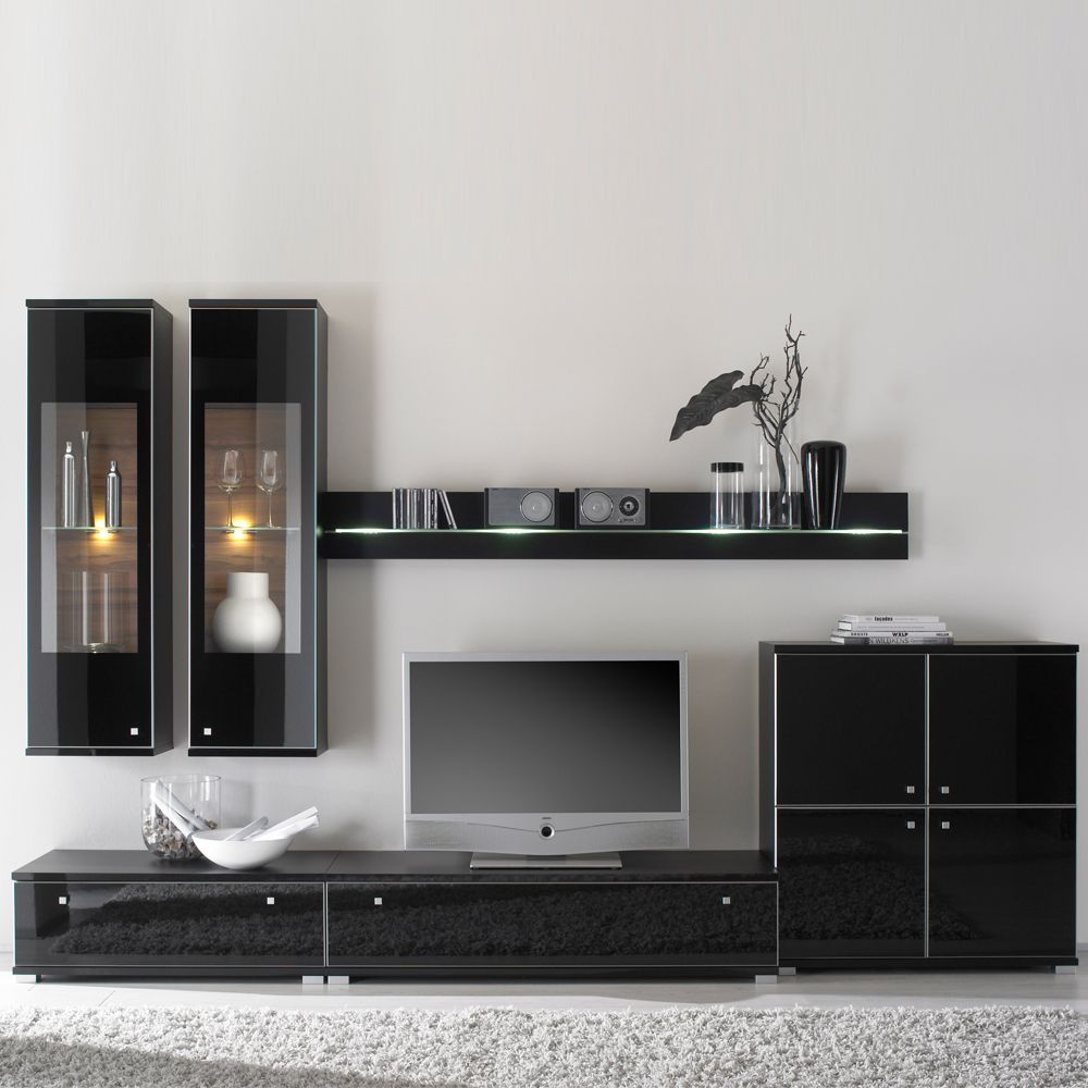 wohnwand pirlo schwarz hochglanz schwarz matt ausf hrung ohne beleuchtung. Black Bedroom Furniture Sets. Home Design Ideas
