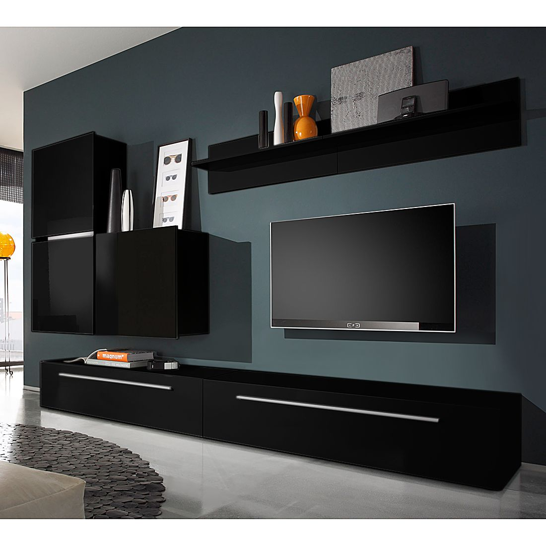 wohnwand polytop i 6 teilig hochglanz schwarz tv lowboard mit 2. Black Bedroom Furniture Sets. Home Design Ideas