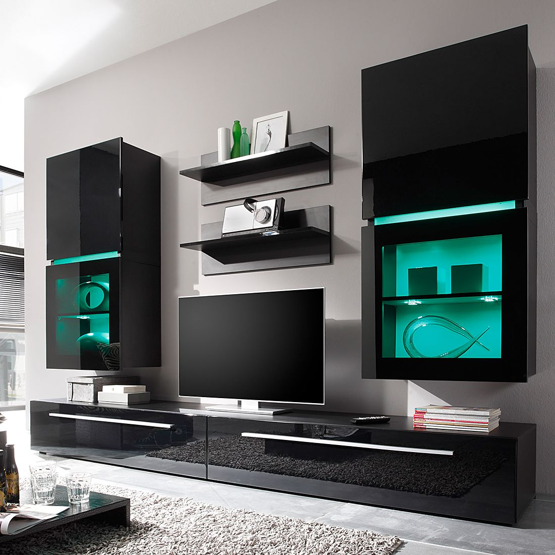wohnwand polytop ii 6 teilig hochglanz schwarz tv. Black Bedroom Furniture Sets. Home Design Ideas