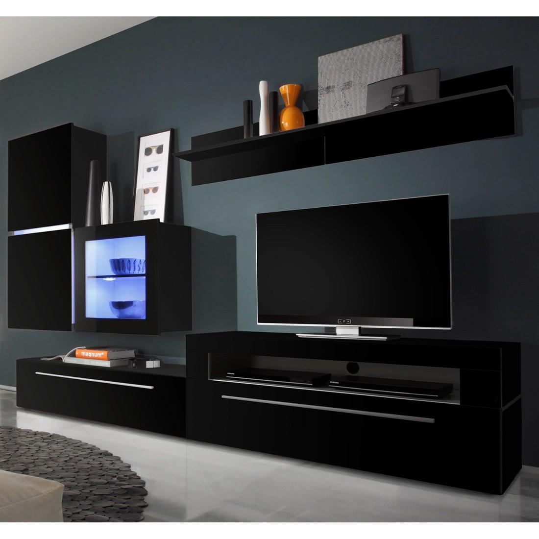 wohnwand polytop iv 6 teilig hochglanz schwarz tv lowboard mit 2 klappen led. Black Bedroom Furniture Sets. Home Design Ideas