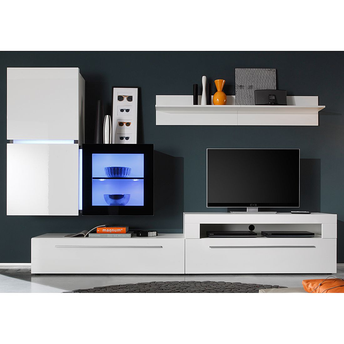 wohnwand polytop iv 6 teilig hochglanz wei tv lowboard mit 2 klappen led beleuchtungsset. Black Bedroom Furniture Sets. Home Design Ideas