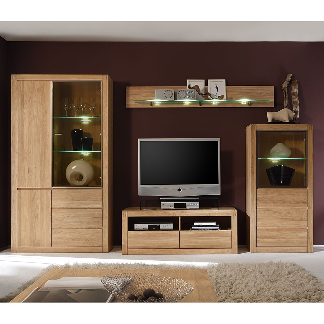 wohnwand ponto 4 teilig eiche teilmassiv ohne. Black Bedroom Furniture Sets. Home Design Ideas