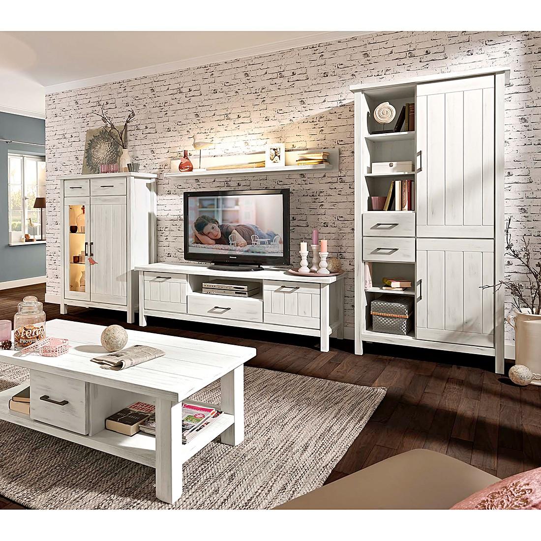 wohnwand prado kiefer massiv vintage wei mit beleuchtung mit wandboard lmie g nstig kaufen. Black Bedroom Furniture Sets. Home Design Ideas