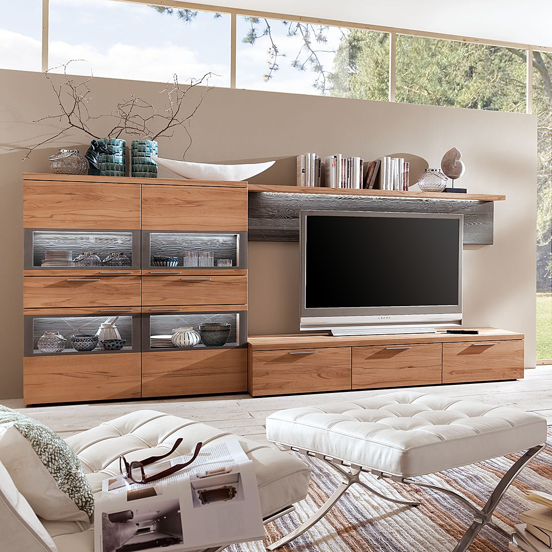 wohnwand pur 3 teilig kernbuche massiv ohne. Black Bedroom Furniture Sets. Home Design Ideas