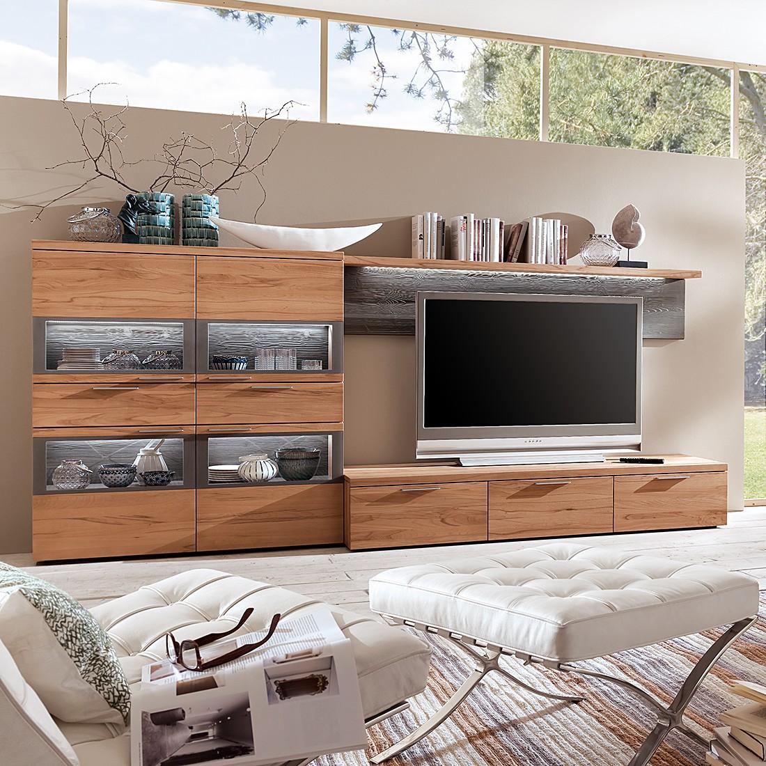 wohnwand pur 3 teilig kernbuche massiv ohne beleuchtung hartmann g nstig kaufen. Black Bedroom Furniture Sets. Home Design Ideas