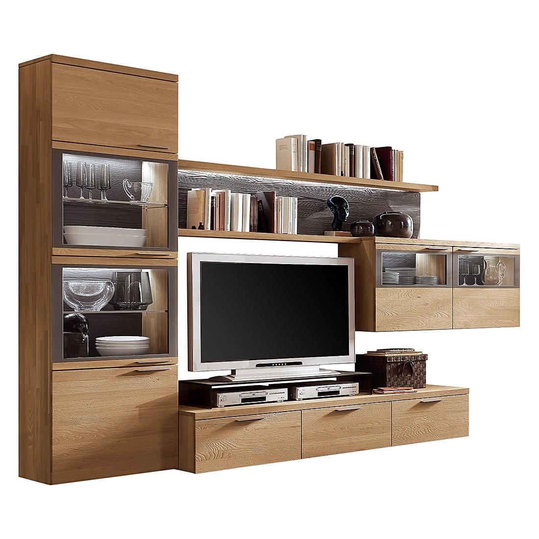wohnwand pur ii 4 teilig eiche massiv ohne beleuchtung ohne tv aufsatz hartmann m hmv. Black Bedroom Furniture Sets. Home Design Ideas