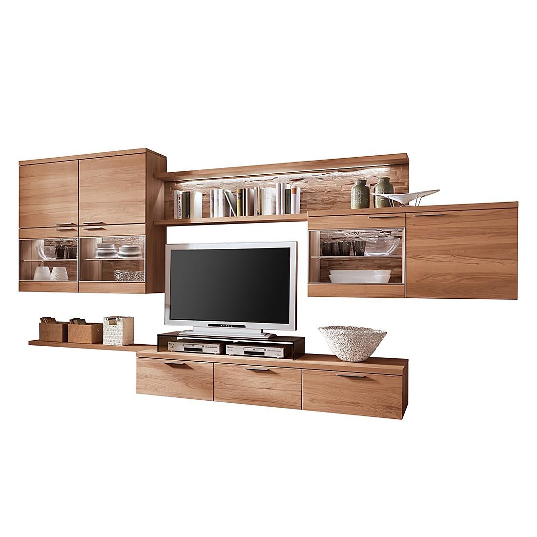 zu wohnwand pur i 5teilig kernbuche massiv mit tvaufsatz. Black Bedroom Furniture Sets. Home Design Ideas