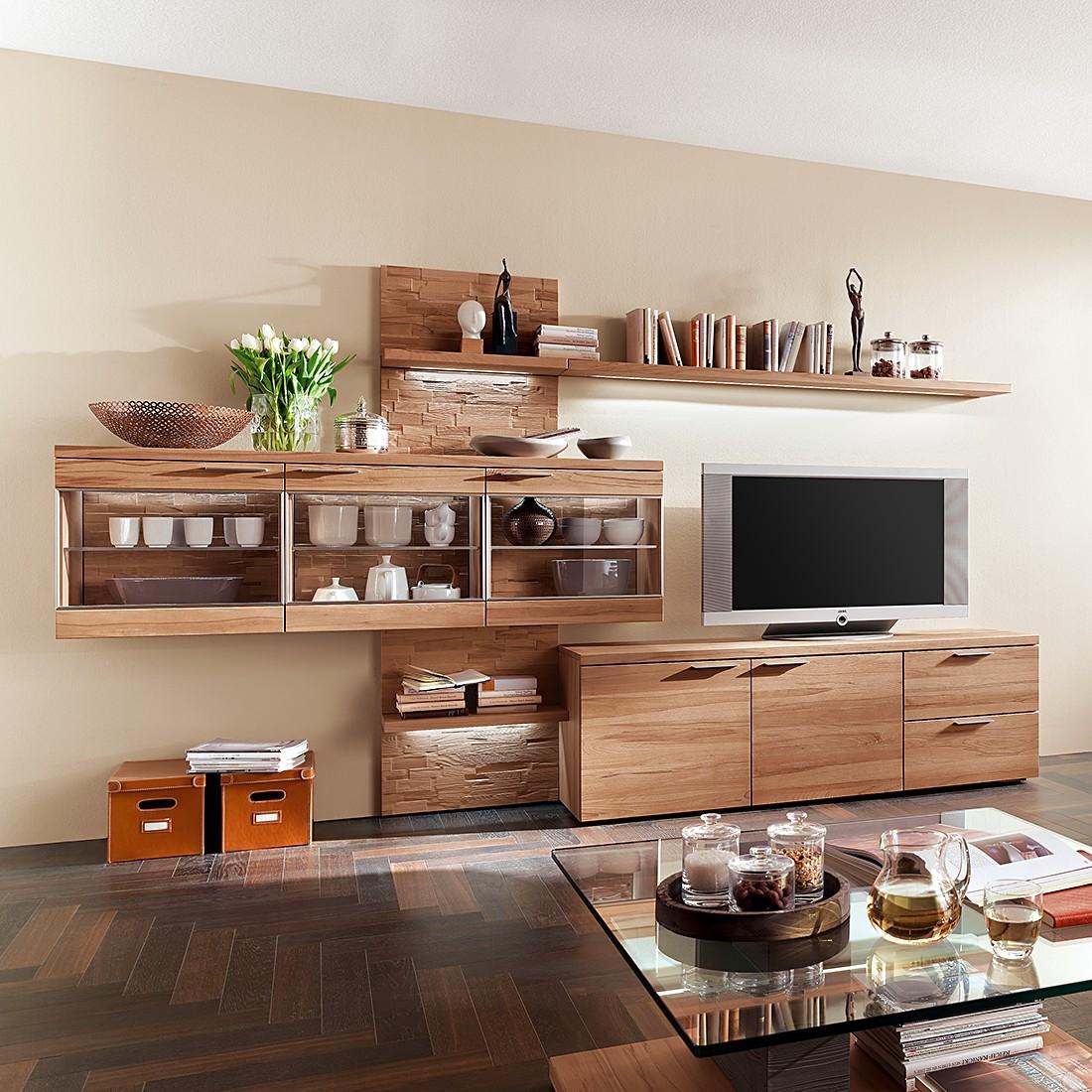 wohnwand pur ii 5 teilig kernbuche massiv mit vorziehbarem oberboden beleuchtung. Black Bedroom Furniture Sets. Home Design Ideas