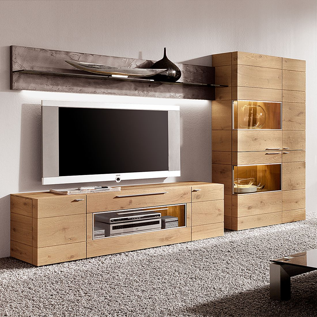 sideboard pur ii eiche massiv ohne beleuchtung hartmann online bestellen. Black Bedroom Furniture Sets. Home Design Ideas