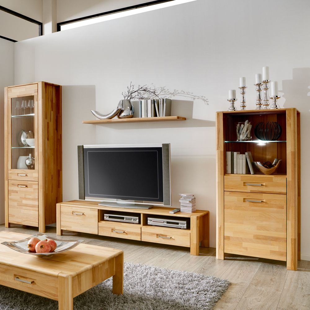 klein wohnwand queen 4 teilig kernbuche massivholz vitrine. Black Bedroom Furniture Sets. Home Design Ideas