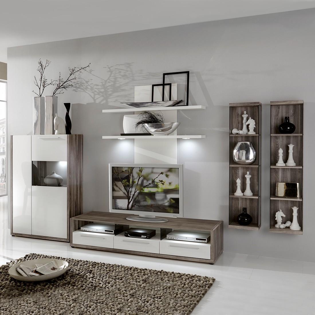 wohnwand rigoni 5 teilig wei hochglanz encanto eiche dekor ohne beleuchtung schrank. Black Bedroom Furniture Sets. Home Design Ideas