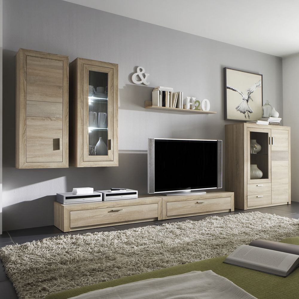 wohnwand rosario 6 teilig eiche s gerau dekor zwei h ngeschr nke. Black Bedroom Furniture Sets. Home Design Ideas